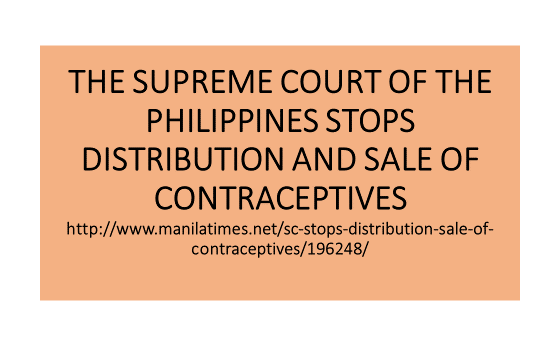 SC stops distribution, Sale of Contraceptives