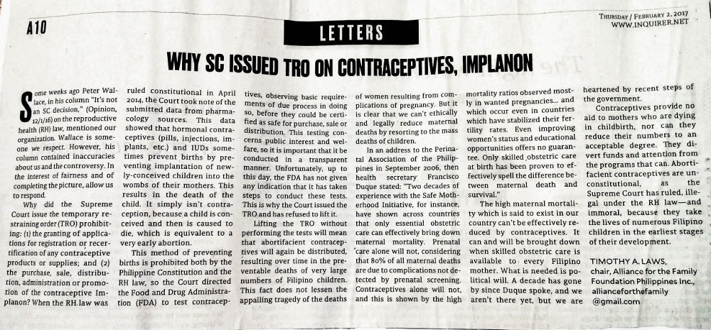Inquirer - Tim Laws letter