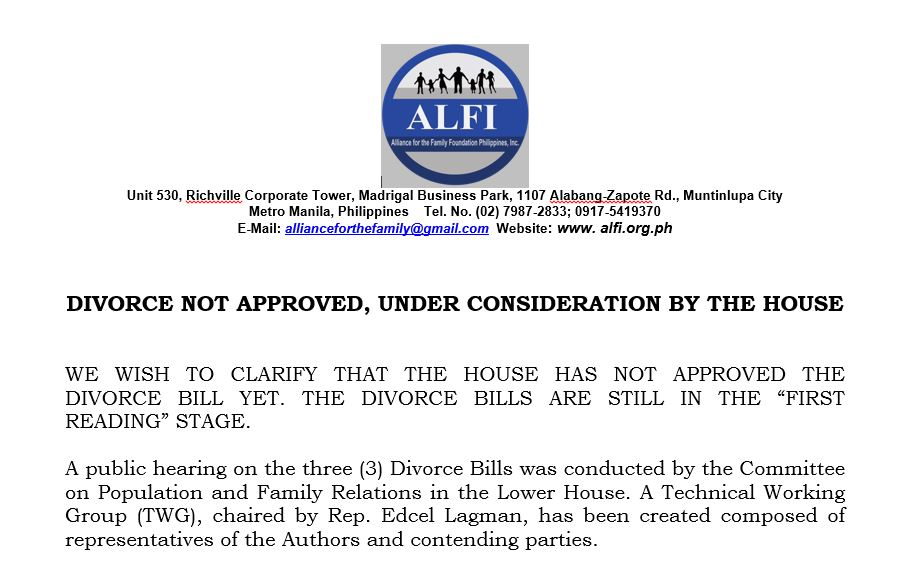 DIVORCE NOT APPROVED, UNDER CONSIDERATION BY THE HOUSE