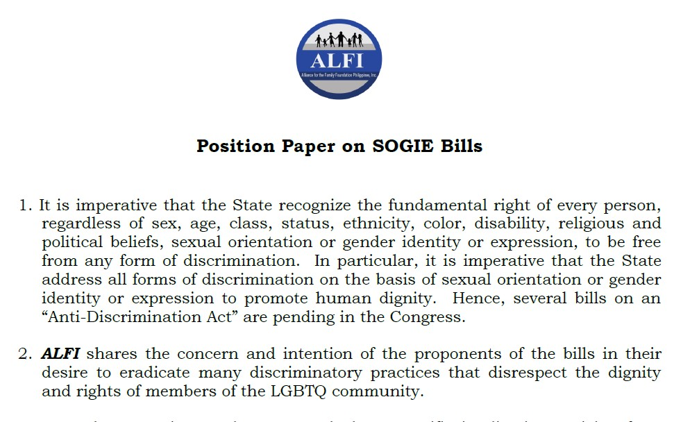 ALFI's Position Paper on SOGIE Bills