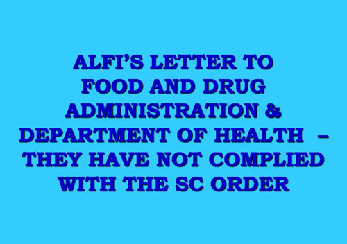 ALFI's Letter to Food and Drug Administration & Department of Health