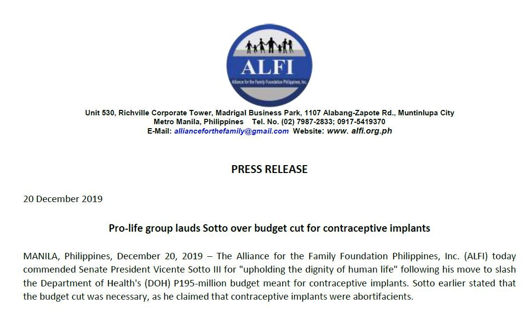 PRESS RELEASE: Pro-life group lauds Sotto over budget cut for contraceptive implants