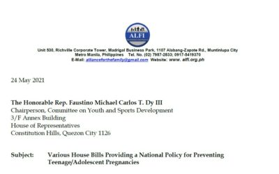 ALFI Position Paper on Teenage-Adolescent Pregnancy