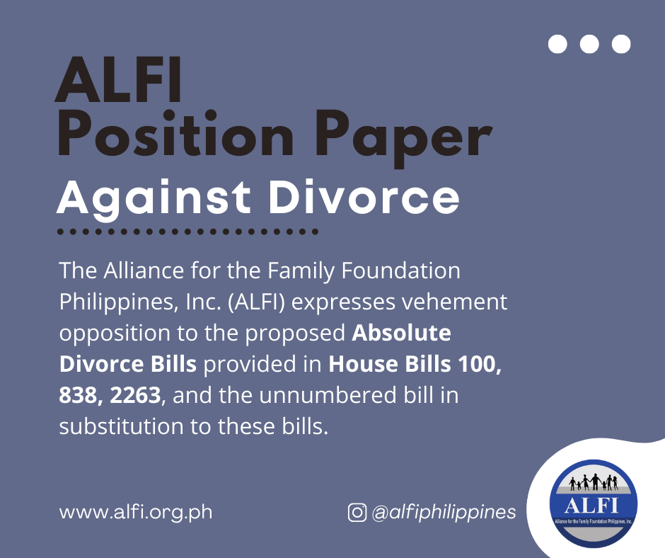 Position Paper Against Divorce in the Philippines